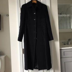 Steve by Searle Long Wool Blended Black Coat